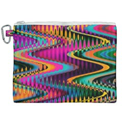 Multicolored Wave Distortion Zigzag Chevrons Canvas Cosmetic Bag (xxl) by EDDArt