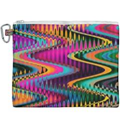 Multicolored Wave Distortion Zigzag Chevrons Canvas Cosmetic Bag (xxxl) by EDDArt