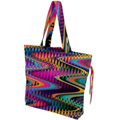 Multicolored Wave Distortion Zigzag Chevrons Drawstring Tote Bag by EDDArt