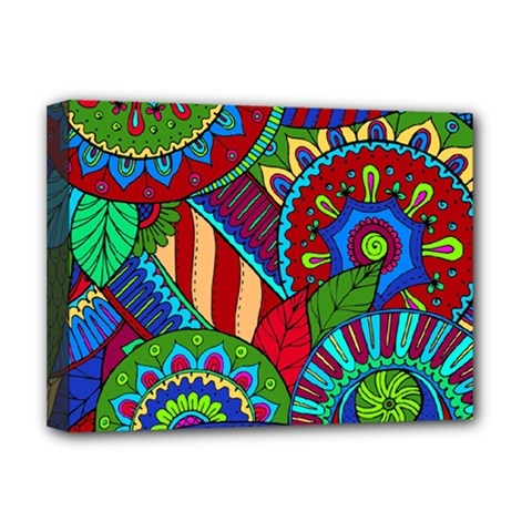Pop Art Paisley Flowers Ornaments Multicolored 2 Deluxe Canvas 16  X 12   by EDDArt