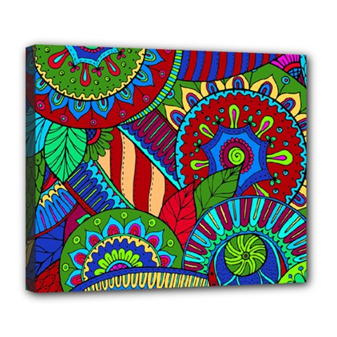 Pop Art Paisley Flowers Ornaments Multicolored 2 Deluxe Canvas 24  X 20   by EDDArt