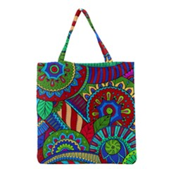 Pop Art Paisley Flowers Ornaments Multicolored 2 Grocery Tote Bag by EDDArt