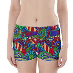 Pop Art Paisley Flowers Ornaments Multicolored 2 Boyleg Bikini Wrap Bottoms
