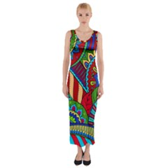Pop Art Paisley Flowers Ornaments Multicolored 2 Fitted Maxi Dress