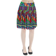 Pop Art Paisley Flowers Ornaments Multicolored 2 Pleated Skirt