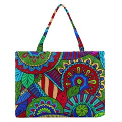 Pop Art Paisley Flowers Ornaments Multicolored 2 Zipper Medium Tote Bag