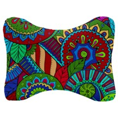 Pop Art Paisley Flowers Ornaments Multicolored 2 Velour Seat Head Rest Cushion by EDDArt