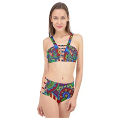 Pop Art Paisley Flowers Ornaments Multicolored 2 Cage Up Bikini Set by EDDArt