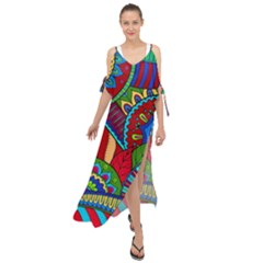 Pop Art Paisley Flowers Ornaments Multicolored 2 Maxi Chiffon Cover Up Dress by EDDArt