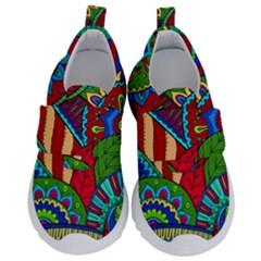 Pop Art Paisley Flowers Ornaments Multicolored 2 Velcro Strap Shoes by EDDArt