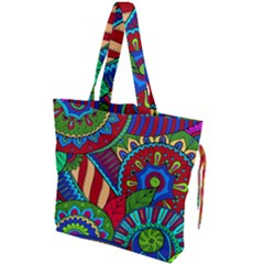 Pop Art Paisley Flowers Ornaments Multicolored 2 Drawstring Tote Bag by EDDArt