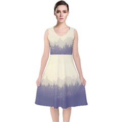 Cloudy Foggy Forest With Pine Trees V Neck Midi Sleeveless Dress
