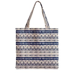 Native American Ornaments Watercolor Pattern Blue Zipper Grocery Tote Bag
