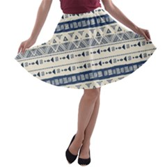 Native American Ornaments Watercolor Pattern Blue A Line Skater Skirt by EDDArt
