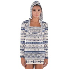 Native American Ornaments Watercolor Pattern Blue Long Sleeve Hooded T Shirt by EDDArt