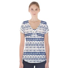 Native American Ornaments Watercolor Pattern Blue Short Sleeve Front Detail Top