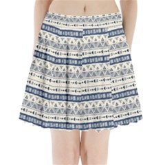 Native American Ornaments Watercolor Pattern Blue Pleated Mini Skirt