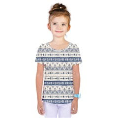 Native American Ornaments Watercolor Pattern Blue Kids  One Piece Tee by EDDArt