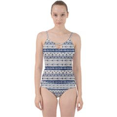 Native American Ornaments Watercolor Pattern Blue Cut Out Top Tankini Set by EDDArt