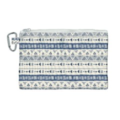 Native American Ornaments Watercolor Pattern Blue Canvas Cosmetic Bag (large) by EDDArt