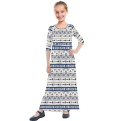 Native American Ornaments Watercolor Pattern Blue Kids  Quarter Sleeve Maxi Dress by EDDArt