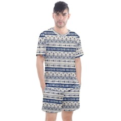 Native American Ornaments Watercolor Pattern Blue Men s Mesh Tee And Shorts Set by EDDArt