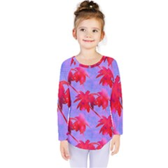 Palm Trees Neon Nights Kids  Long Sleeve Tee