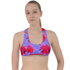 Palm Trees Neon Nights Criss Cross Racerback Sports Bra