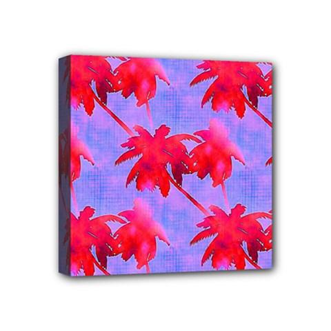 Palm Trees Neon Nights Mini Canvas 4  X 4