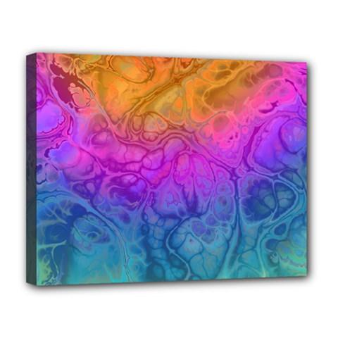 Fractal Batik Art Hippie Rainboe Colors 1 Canvas 14  X 11  by EDDArt