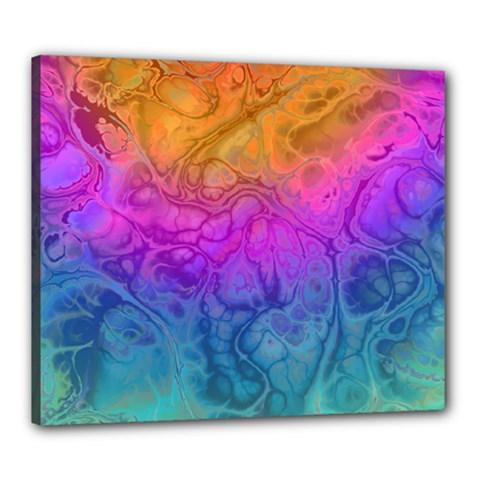 Fractal Batik Art Hippie Rainboe Colors 1 Canvas 24  X 20  by EDDArt