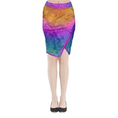 Fractal Batik Art Hippie Rainboe Colors 1 Midi Wrap Pencil Skirt