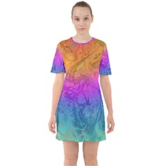 Fractal Batik Art Hippie Rainboe Colors 1 Sixties Short Sleeve Mini Dress