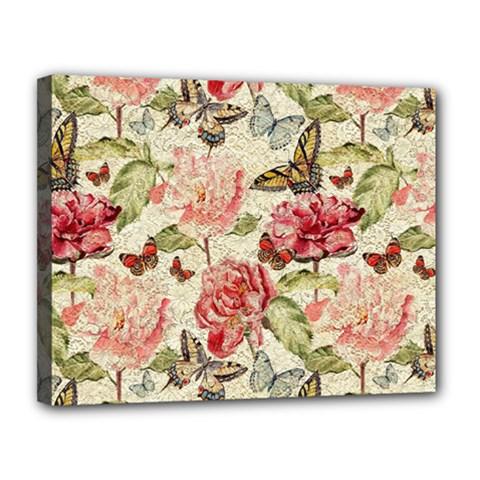 Watercolor Vintage Flowers Butterflies Lace 1 Canvas 14  X 11