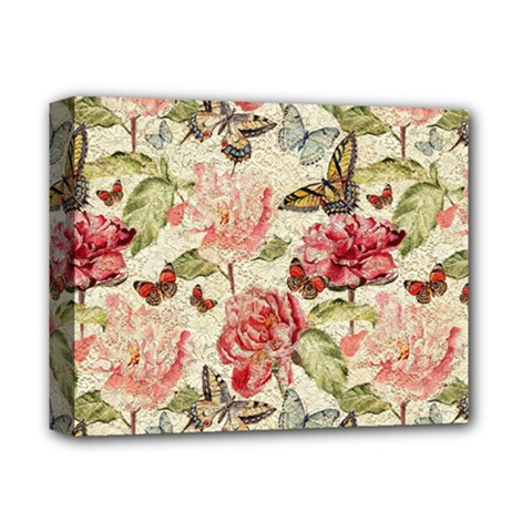 Watercolor Vintage Flowers Butterflies Lace 1 Deluxe Canvas 14  X 11  by EDDArt