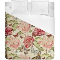 Watercolor Vintage Flowers Butterflies Lace 1 Duvet Cover (california King Size)