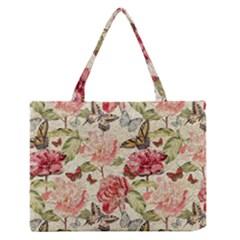 Watercolor Vintage Flowers Butterflies Lace 1 Zipper Medium Tote Bag