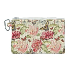 Watercolor Vintage Flowers Butterflies Lace 1 Canvas Cosmetic Bag (large)