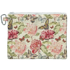 Watercolor Vintage Flowers Butterflies Lace 1 Canvas Cosmetic Bag (xxl) by EDDArt