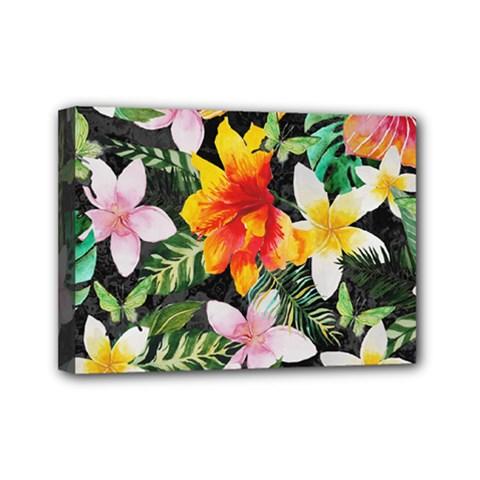 Tropical Flowers Butterflies 1 Mini Canvas 7  X 5