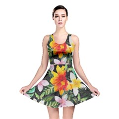 Tropical Flowers Butterflies 1 Reversible Skater Dress