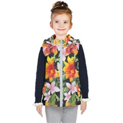 Tropical Flowers Butterflies 1 Kid s Hooded Puffer Vest