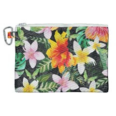 Tropical Flowers Butterflies 1 Canvas Cosmetic Bag (xl) by EDDArt