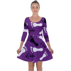 Purple Quarter Sleeve Skater Dress