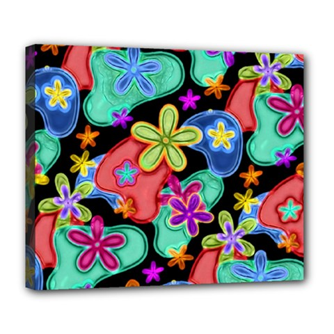 Colorful Retro Flowers Fractalius Pattern 1 Deluxe Canvas 24  X 20   by EDDArt