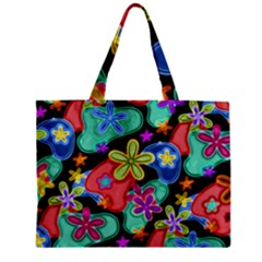 Colorful Retro Flowers Fractalius Pattern 1 Zipper Mini Tote Bag by EDDArt