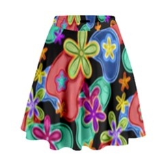 Colorful Retro Flowers Fractalius Pattern 1 High Waist Skirt