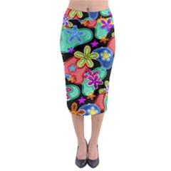 Colorful Retro Flowers Fractalius Pattern 1 Midi Pencil Skirt by EDDArt