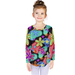 Colorful Retro Flowers Fractalius Pattern 1 Kids  Long Sleeve Tee