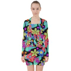 Colorful Retro Flowers Fractalius Pattern 1 V Neck Bodycon Long Sleeve Dress